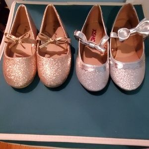 Silver and gold flats for toddler